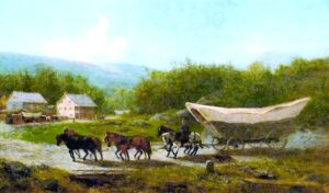 Conestoga Wagon (1883) by Newbold Hough Trotter (1827-1898). Painting in the State Museum of Pennsylvania